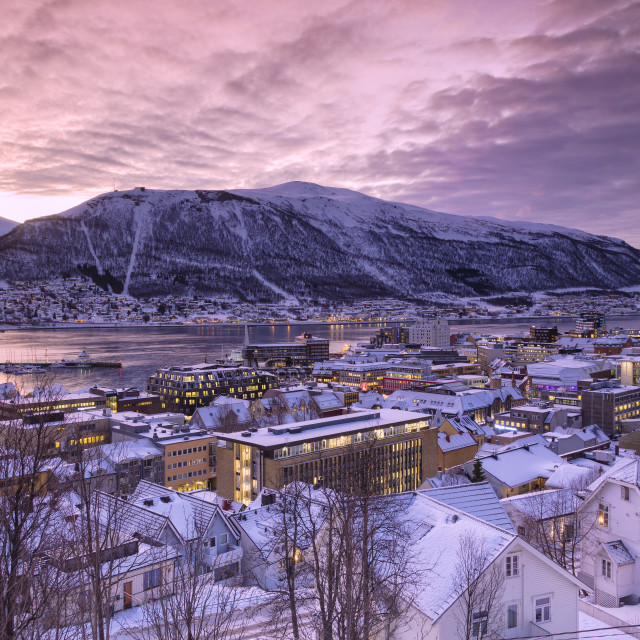 """The city of Troms at sunrise, Norway"" stock image"