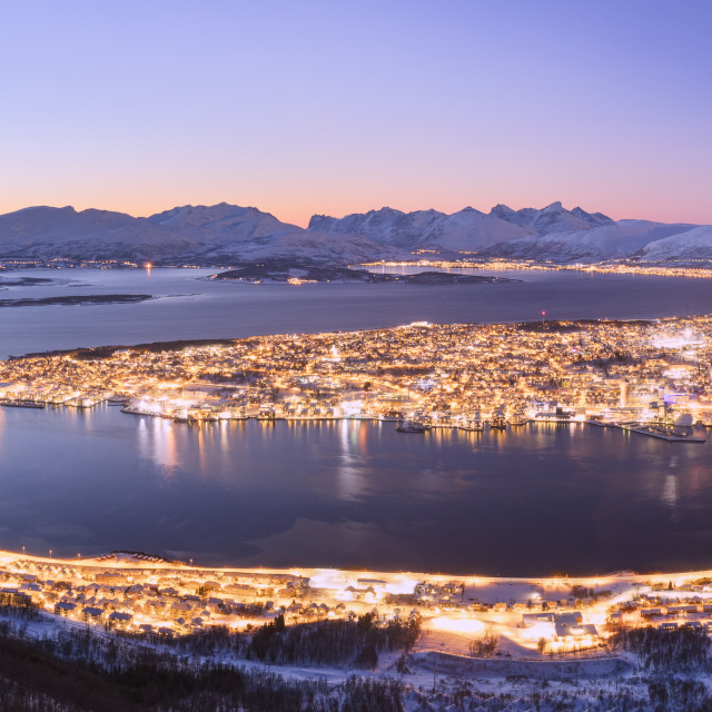 """The city of Troms seen from Fjellheisen at dusk, Troms county, Norway"" stock image"