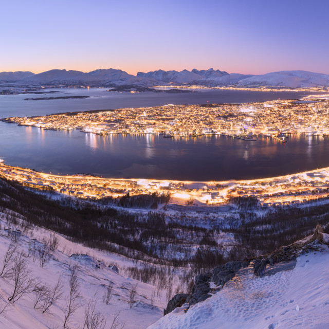 """Panoramic of Troms seen from Fjellheisen at dusk, Troms county, Norway"" stock image"