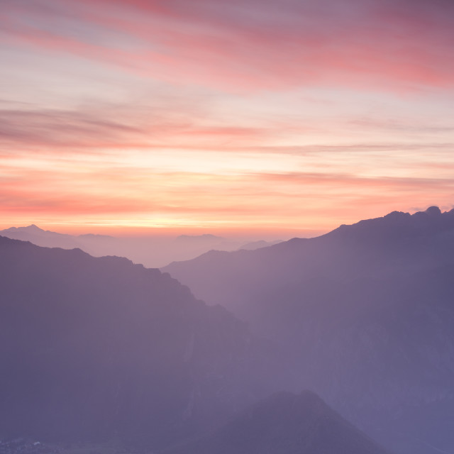 """Silhouette of Monte Resegone and Monte Due Mani at dawn, Monte Coltignone,..."" stock image"