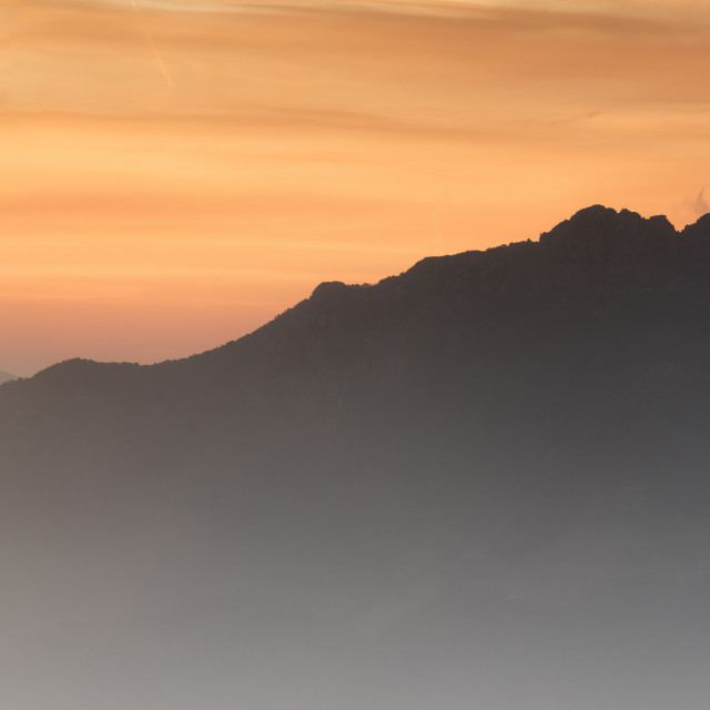 """Panoramic of Monte Resegone and Monte Due Mani at dawn, Monte Coltignone,..."" stock image"