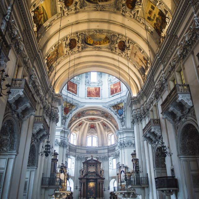 """Interior of the Salzburg cathedral, Salzburg, Austria"" stock image"