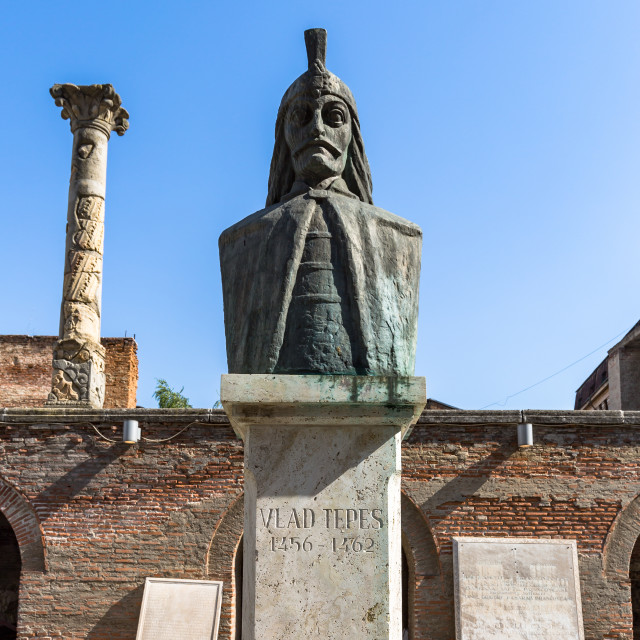 """""""Statue of Vlad Tepes, the inspiration behind Bram Stoker's Dracula, at Curtea..."""" stock image"""