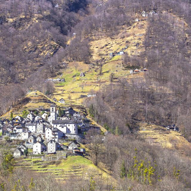 """Village of Corippo, Verzasca Valley, Canton of Ticino, Switzerland, Italy."" stock image"