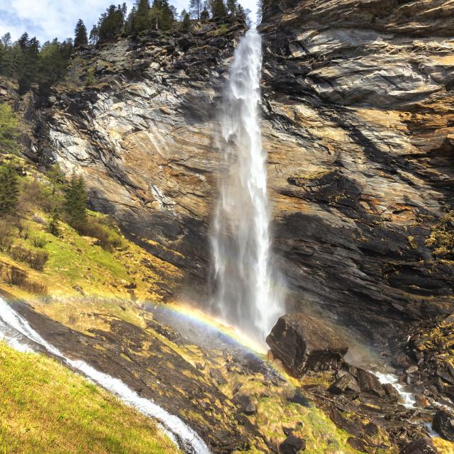 """""""Spring at the Trosa waterfall. Valle di Peccia, Val Lavizzara, Valle Maggia,..."""" stock image"""