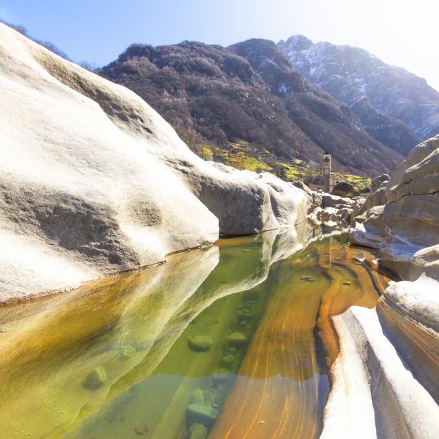 """Colorful Verzasca River at Lavertezzo, Verzasca Valley, Canton of Ticino,..."" stock image"