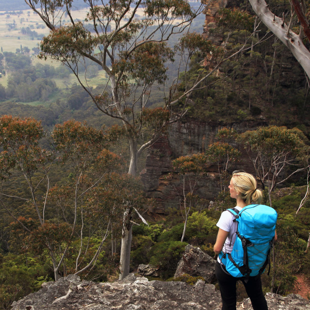"""""""A woman hiking in the Blue Mountains, New South Wales"""" stock image"""