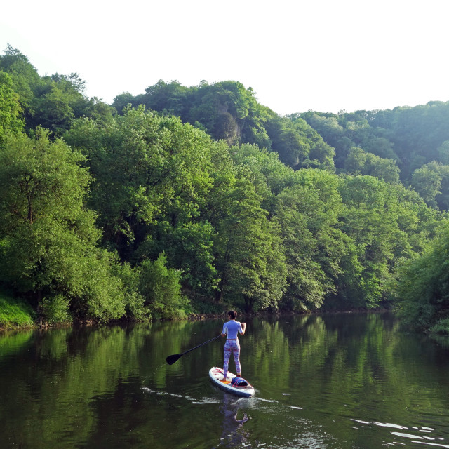 """Paddle boarder deep in the Wye Valley Gorge, river Wye, Monmouthshire, Wales"" stock image"