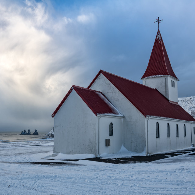 """Vik Church with Reynisdrangar"" stock image"