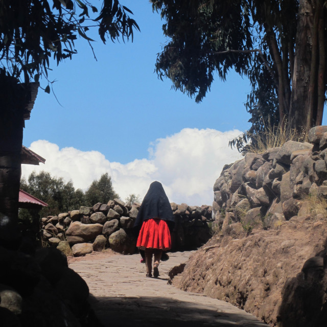 """Homeward bound on Taquile Island, Peru"" stock image"