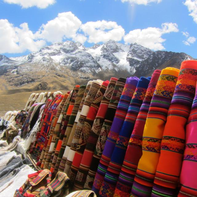 """""""A colourful landscape in Peru"""" stock image"""