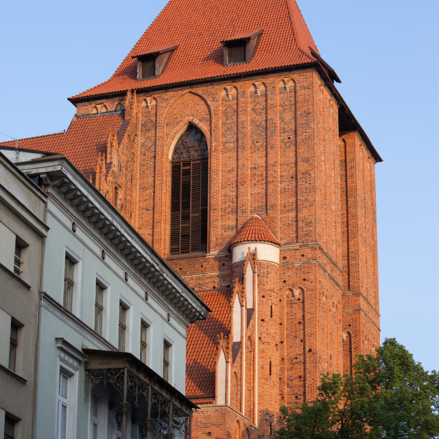 """""""Gothic Cathedral Basilica Tower in Torun"""" stock image"""