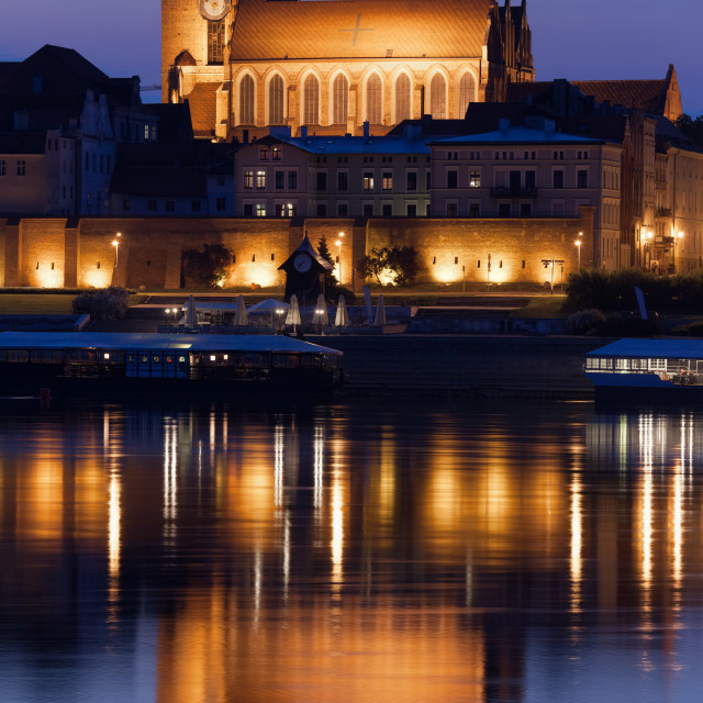 """Torun Cathedral with Reflection on Vistula River"" stock image"