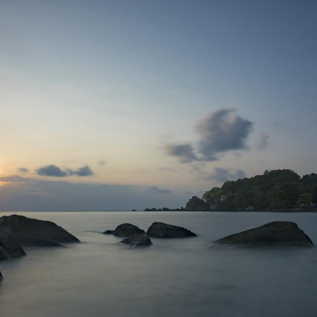 """Sunset at Belitung Light house"" stock image"