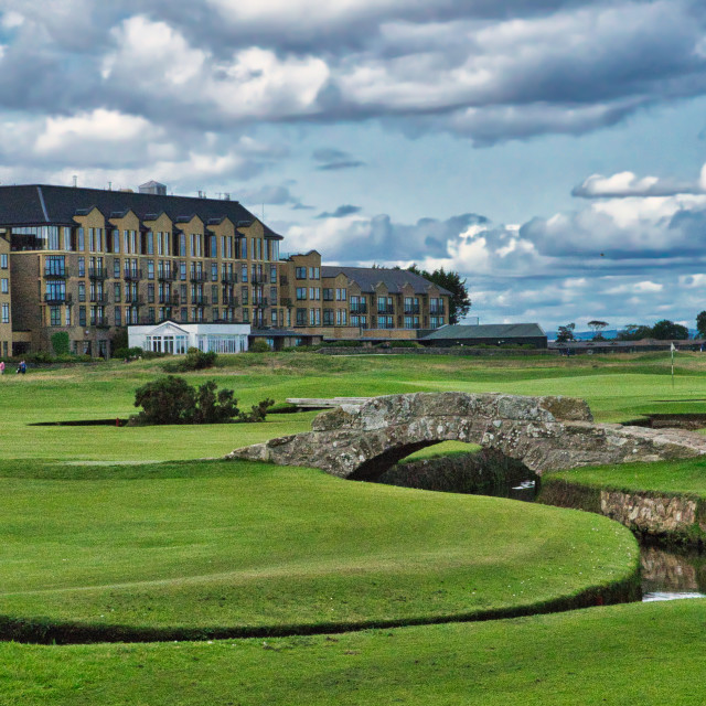 """Swilken Bridge on the Old Course"" stock image"