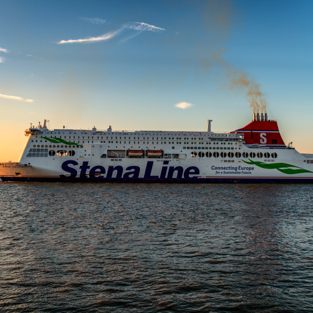 """Stena Hollandica Sails Into The Sunset"" stock image"