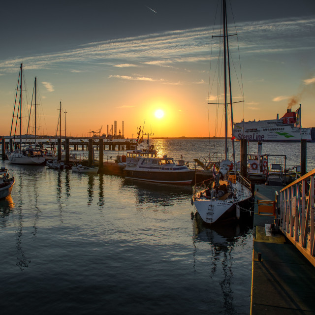 """Ha'penny Pier Stena Hollandica Sunset"" stock image"
