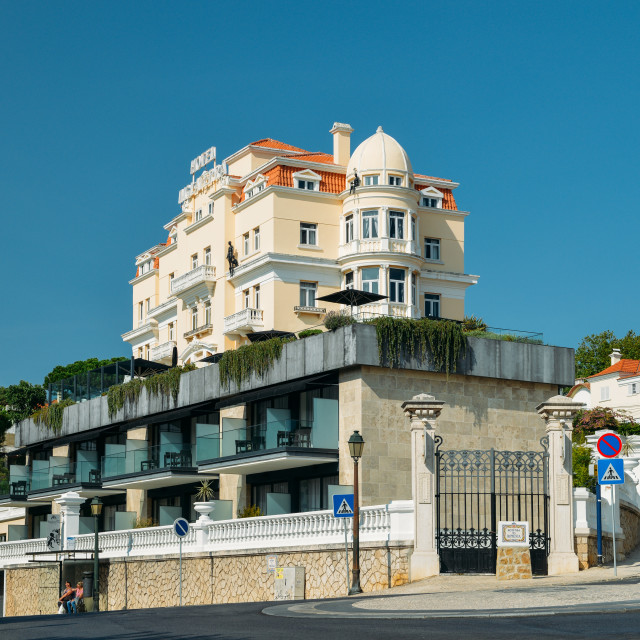 """Facade of Belle Epoque style Hotel Inglaterra in Estoril, famous for hosting..."" stock image"