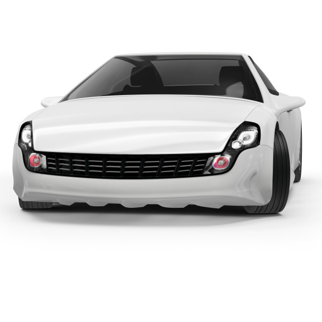 """Abstract white car, illustration"" stock image"