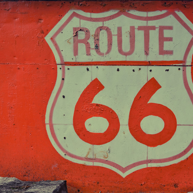 """Old Route 66 sign in a sheet."" stock image"