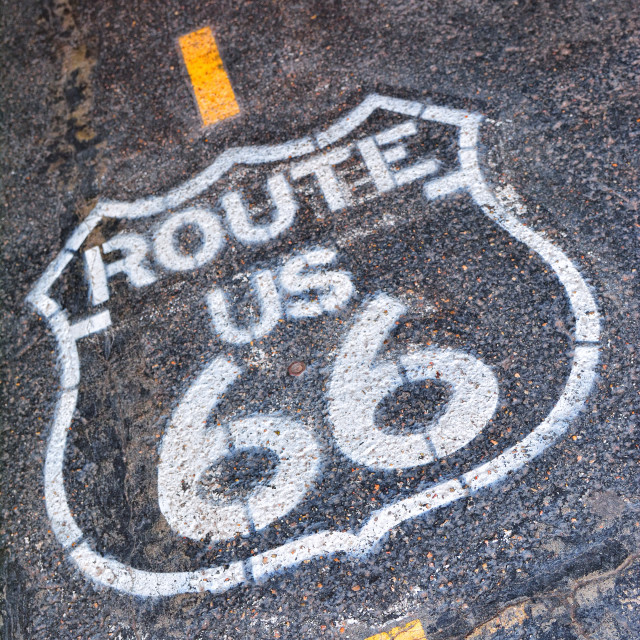 """Route 66 sign in USA."" stock image"