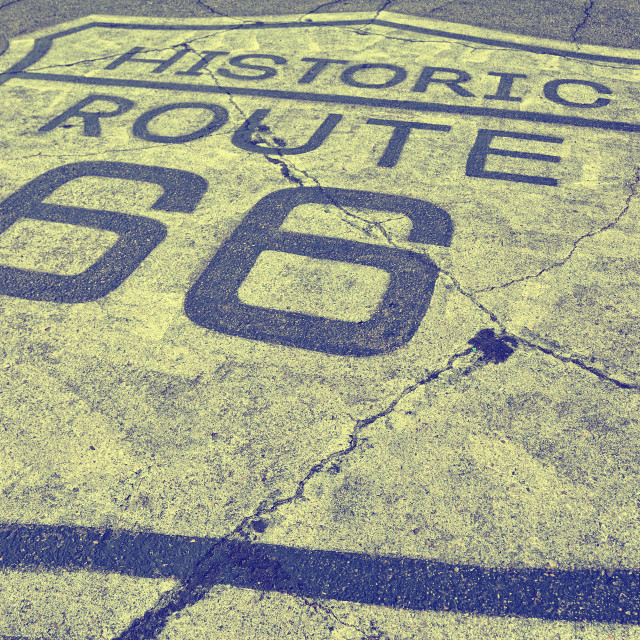 """Historic route 66 on the asphalt"" stock image"