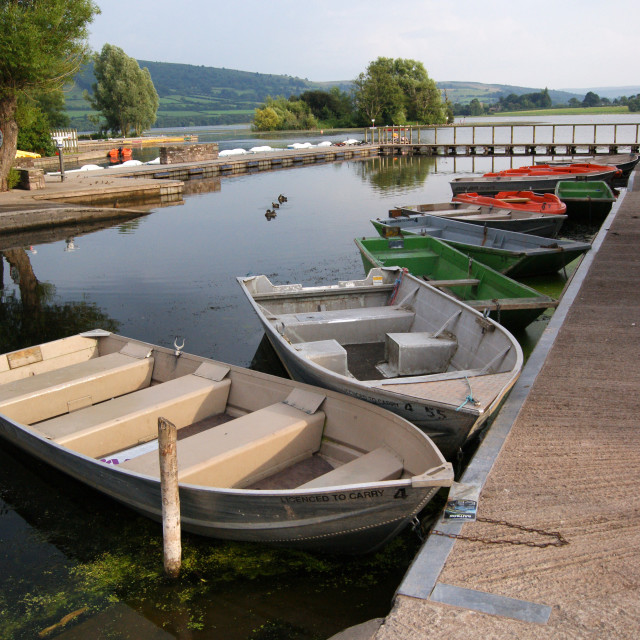 """Boats at Llangorse Lake"" stock image"