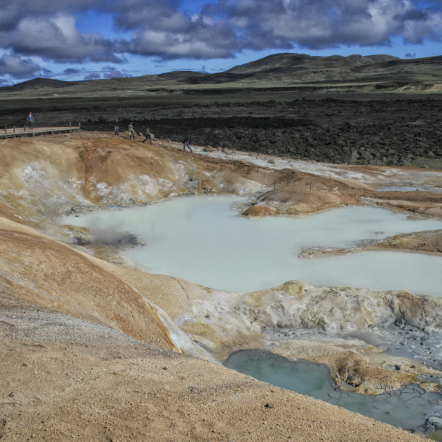 """Sulfur pool at Leirhnjukur, Krafla Iceland"" stock image"