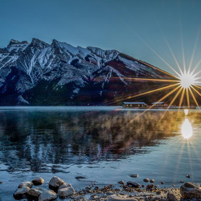 """""""Sunrise at Lake Minniwanka"""" stock image"""