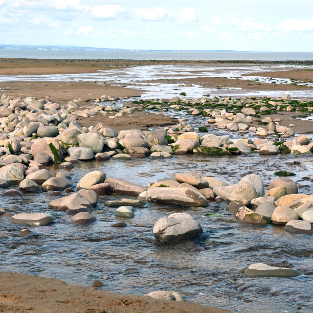 """""""Low Tide On Dunster Beach"""" stock image"""