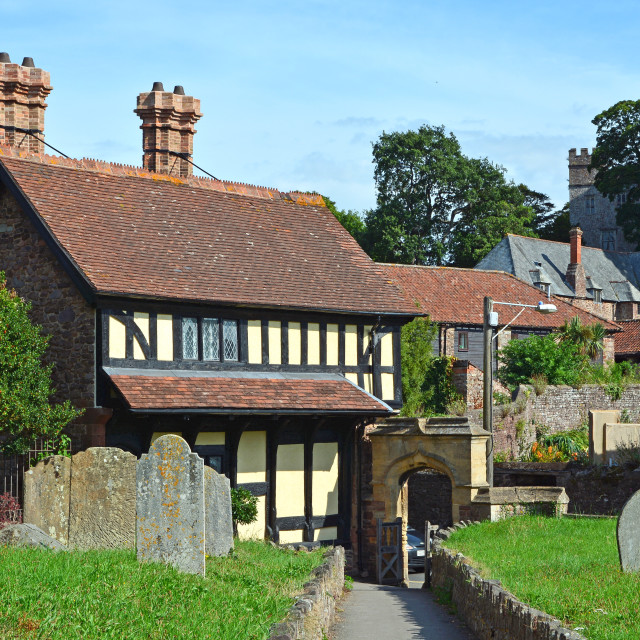 """""""Church Cottage in Dunster, Somerset"""" stock image"""