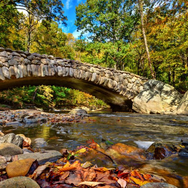 """""""Fall at Boulder Bridge - Rock Creek Park"""" stock image"""