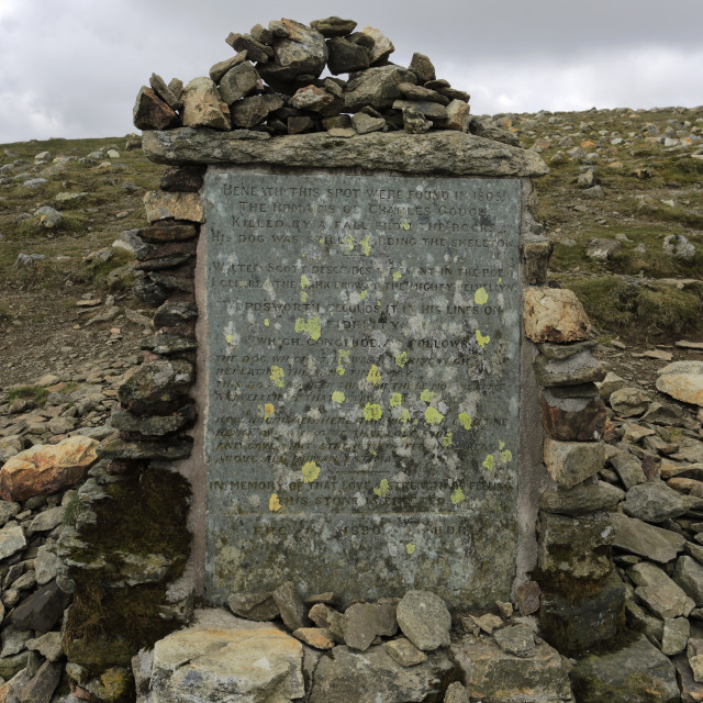 """""""Charles Gough Memorial stone at the summit of Helvellyn fell, Lake District..."""" stock image"""