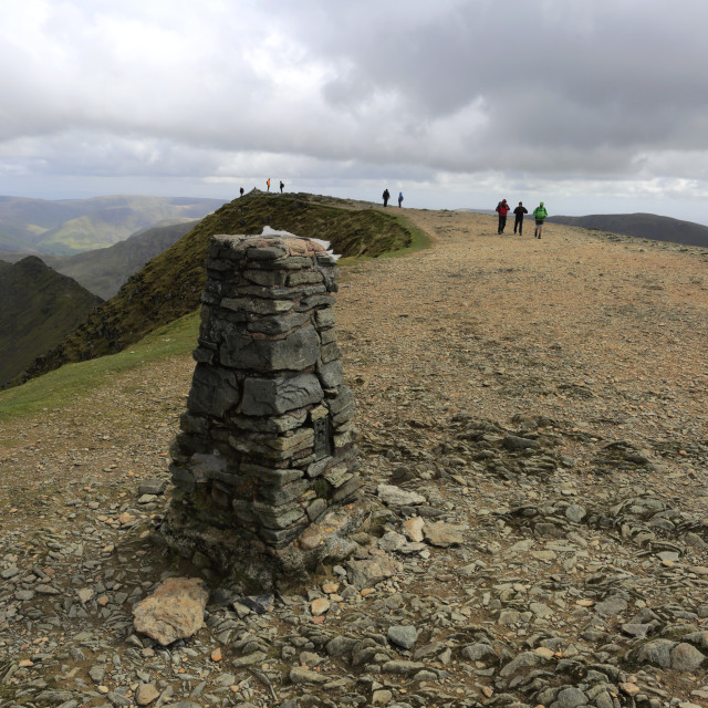 """""""OS trig Point at the summit of Helvellyn fell, Lake District National Park,..."""" stock image"""
