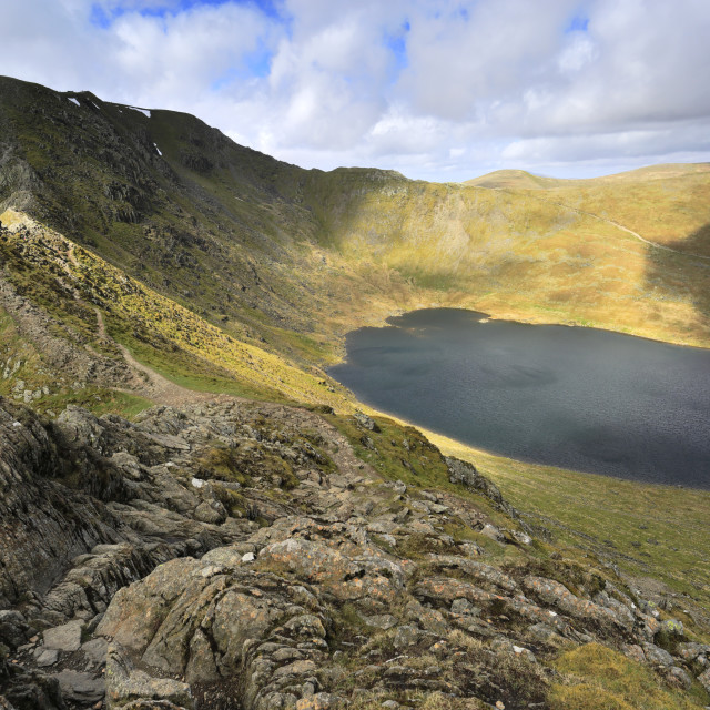 """""""Spring view over Red tarn, Swirral Edge and Helvellyn fell, Lake District..."""" stock image"""
