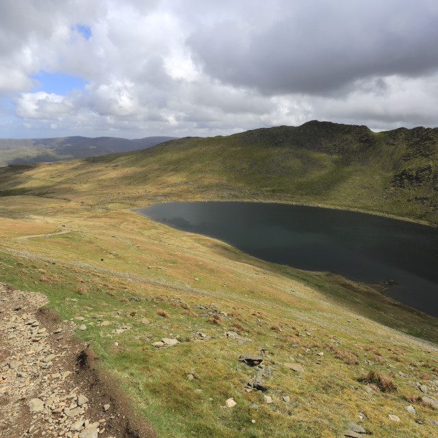 """""""Walkers on Swirral Edge on the way from Helvellyn fell, Lake District..."""" stock image"""