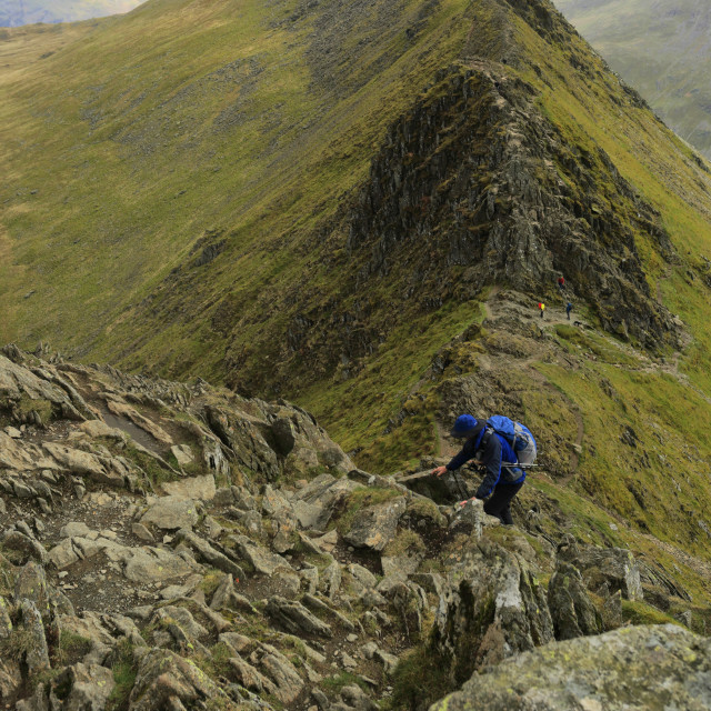 """""""Walkers on Striding Edge ridge on the way to Helvellyn fell, Lake District..."""" stock image"""