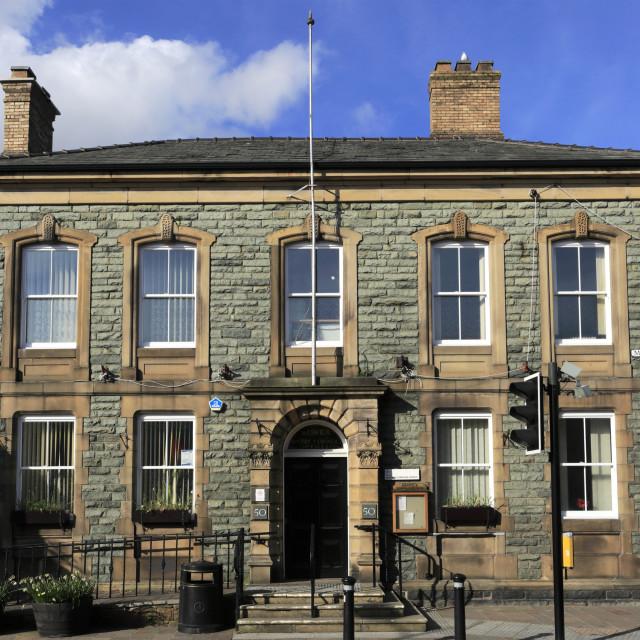 """Allerdale Borough Council building, Keswick town, Lake District National..."" stock image"