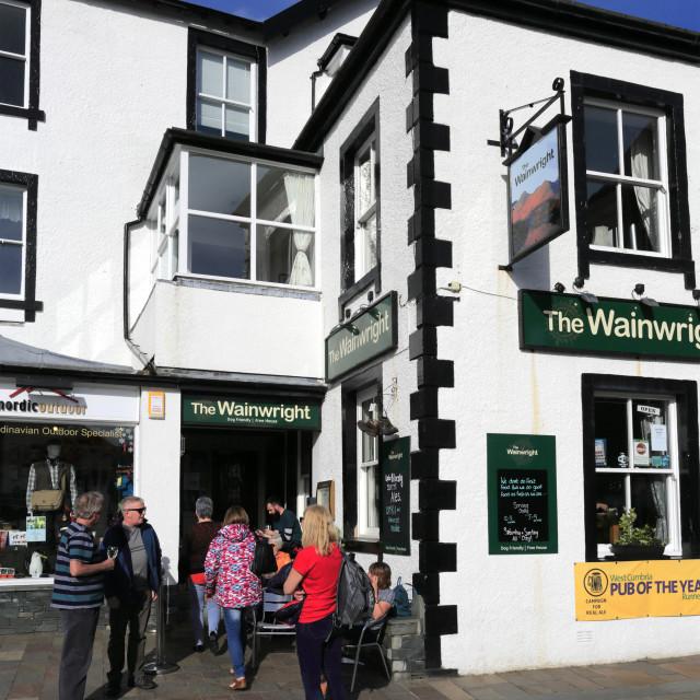 """The Wainwright Pub, Keswick town, Lake District National Park, Cumbria..."" stock image"