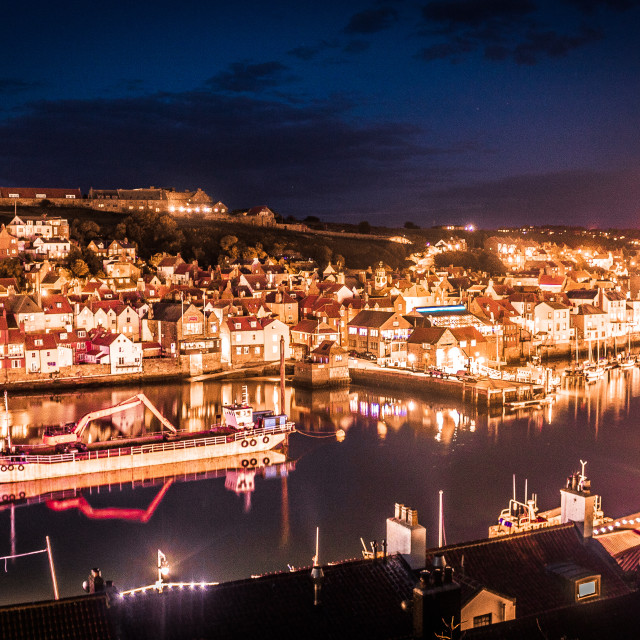 """Whitby at night"" stock image"