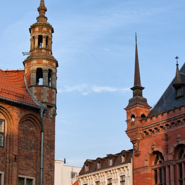 """Corner Turrets of Historic Buildings in Torun"" stock image"