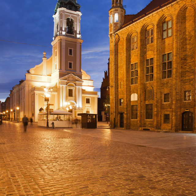 """Old Market Square at Night in Torun"" stock image"