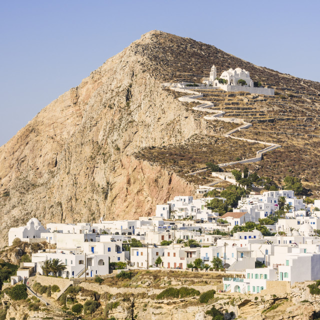 """Dry sun drenched Folegandros Island in Greece"" stock image"