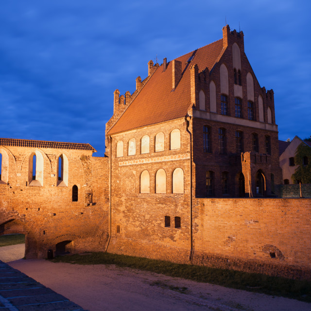 """Citizen Court and City Wall by Night in Torun"" stock image"