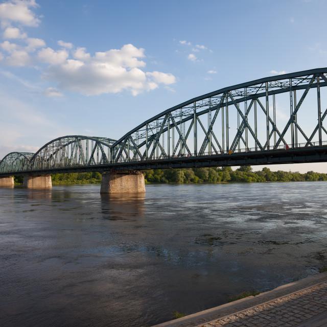 """Pilsudskiego Bridge on Vistula River in Torun"" stock image"