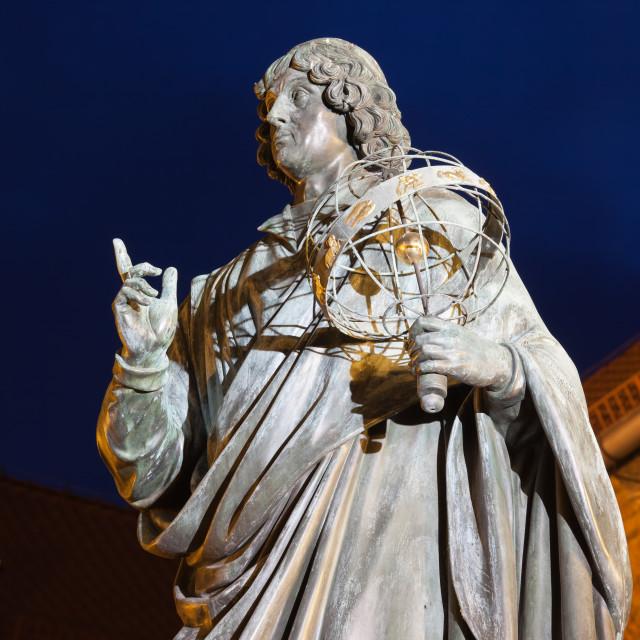 """""""Nicolaus Copernicus Monument at Night in Torun"""" stock image"""