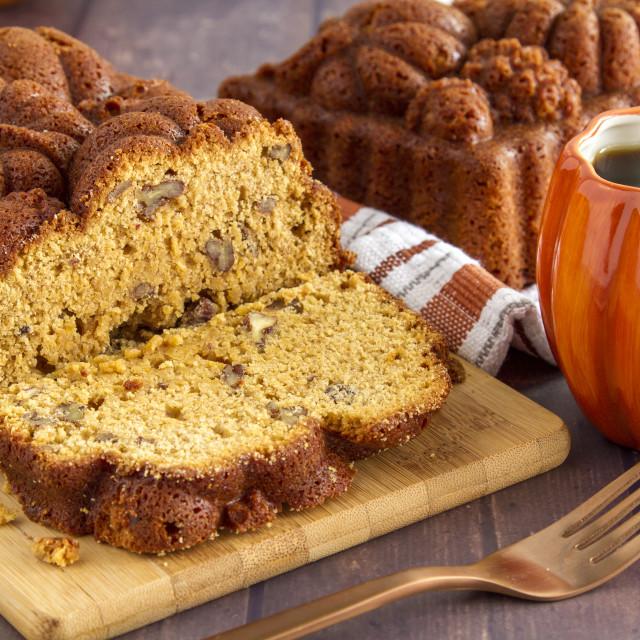 """Homemade pumpkin bread made in decorative pan"" stock image"