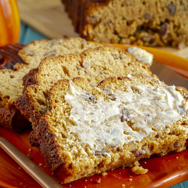 """Homemade pumpkin bread made in decorative pan"" stock image"