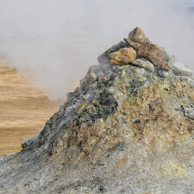 """""""Geothermal pile of sulphuric rock"""" stock image"""