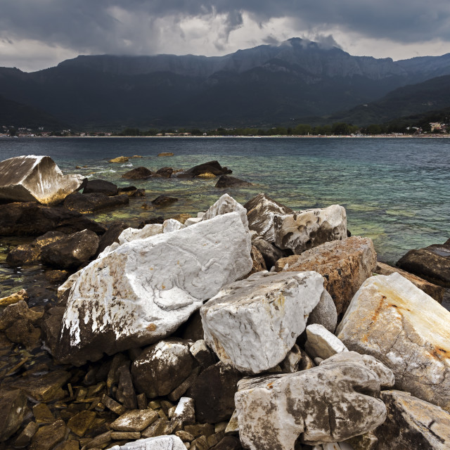 """Stormy Day at Golden Beach, Thassos Greece."" stock image"